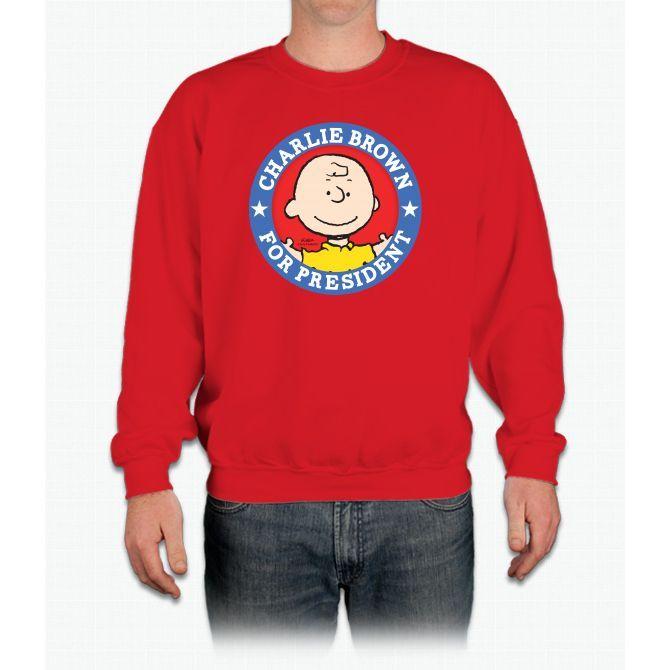 Charlie Brown For President - P Linus Peanuts Crewneck Sweatshirt