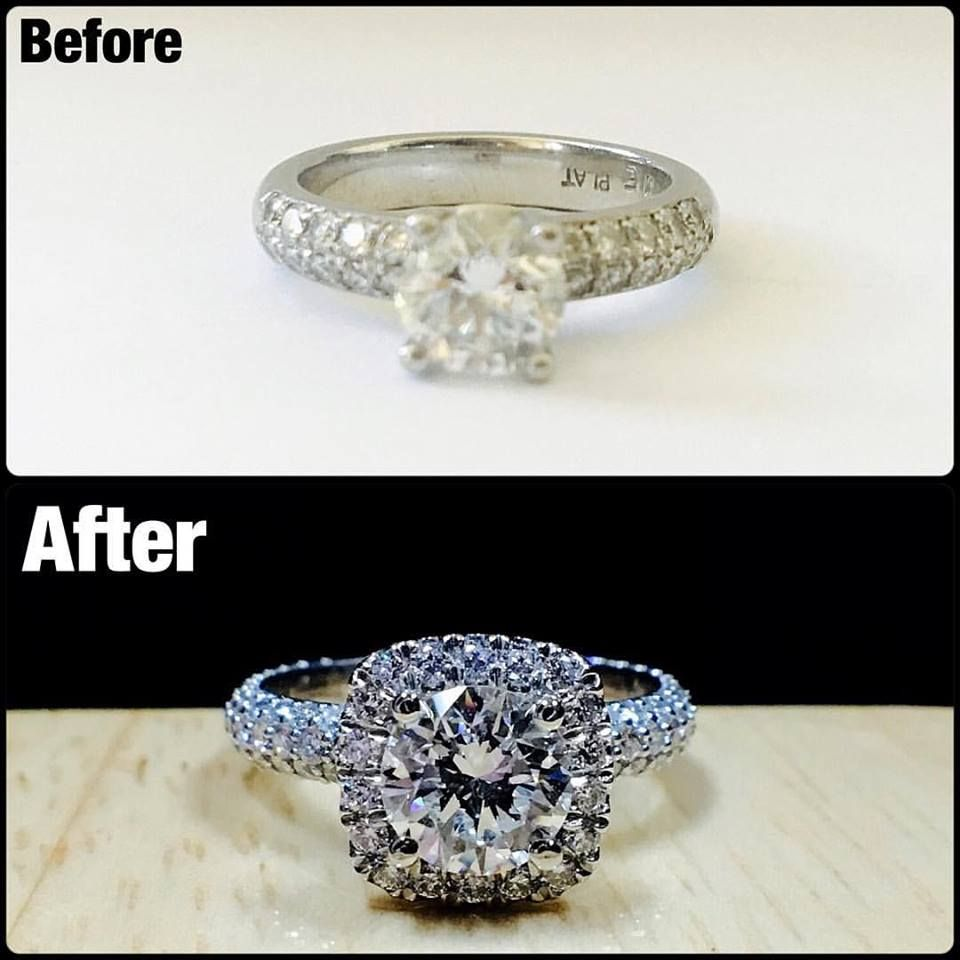It S Amazing What Adding A Halo Will Do To A Ring This Client Came To Me To Revamp Her Engagement Diamond Rings Design Jewelry Rings Diamond Engagement Rings