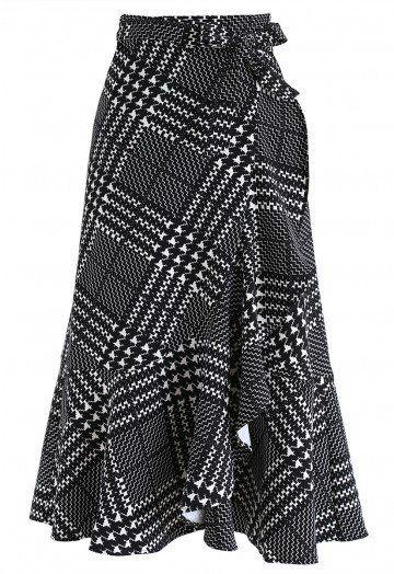 572f8f376f Modish Intelligence Ruffle Wrap Skirt in Black - Skirt - BOTTOMS - Retro,  Indie and Unique Fashion