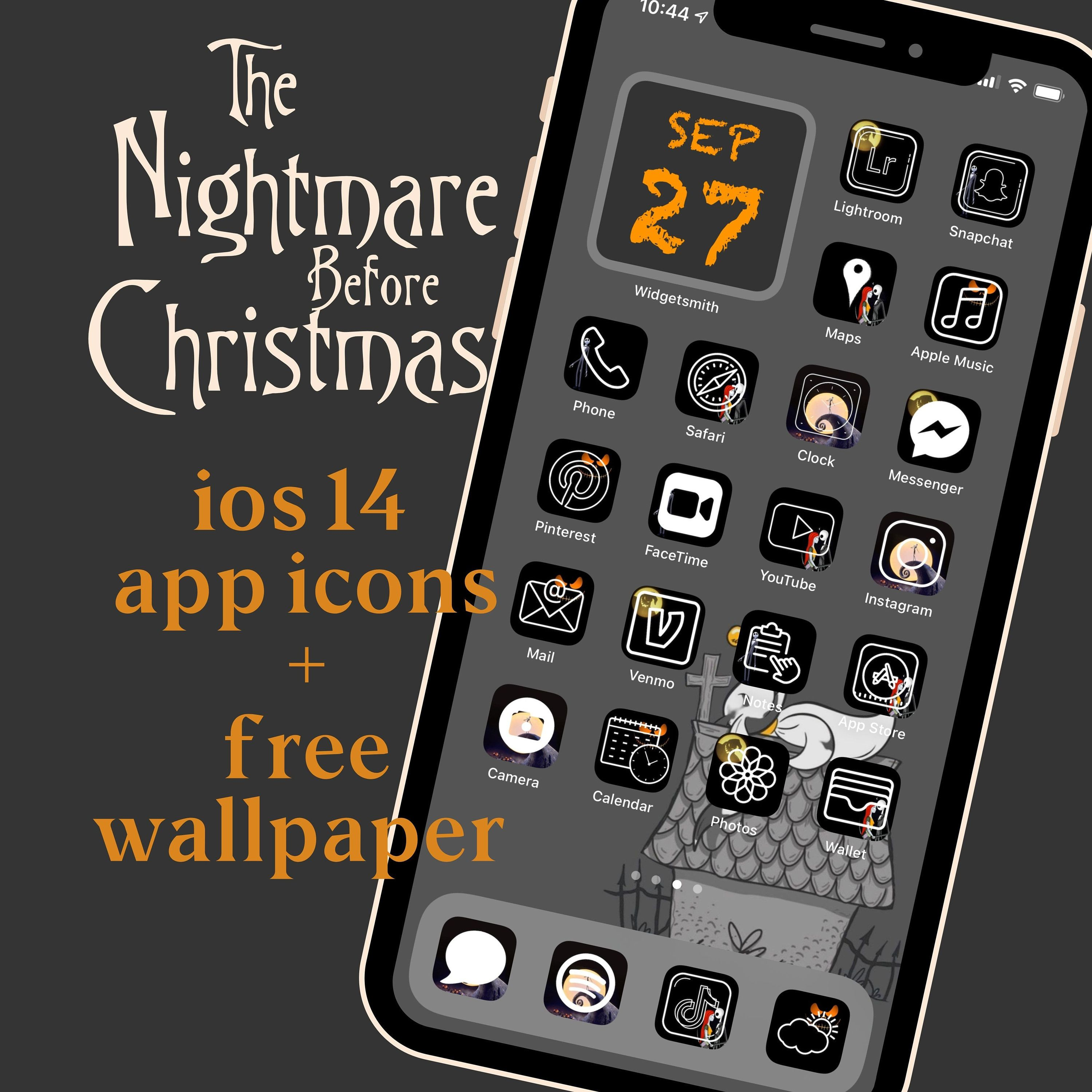 The Nightmare Before Christmas Halloween Ios 14 App Icon Etsy In 2021 App Icon Christmas Apps Homescreen