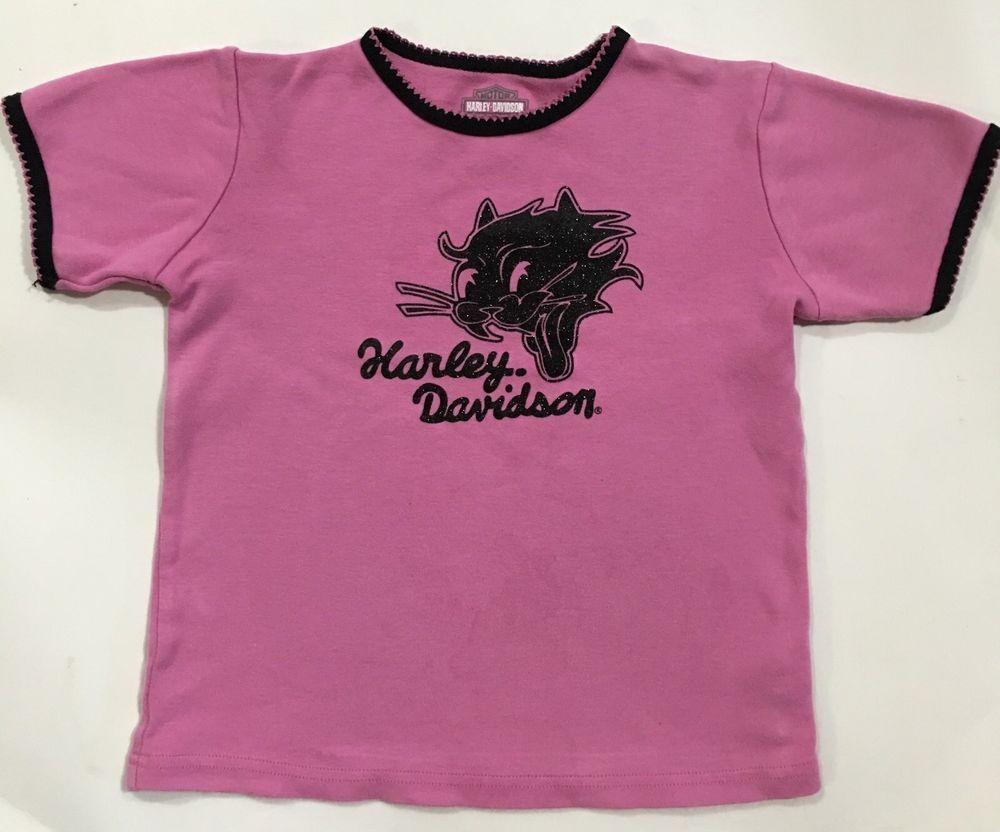 Harley Davidson Motorcycles Pink Black 100 Cotton T Shirt Shirt Size Girls 4 4T   eBay