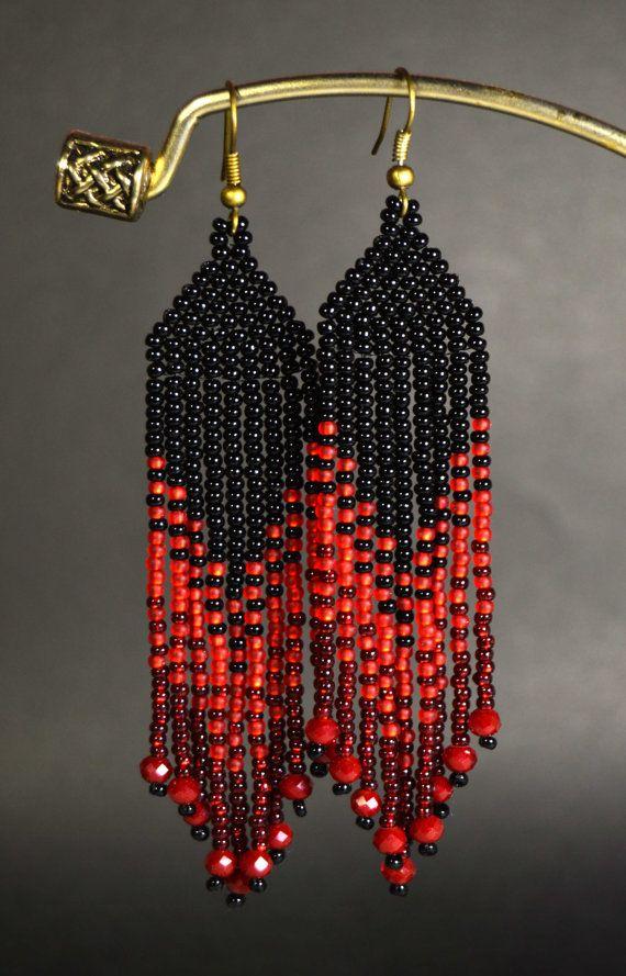 Red and Black, Fringe earrings, Beaded earrings, Seed bead ...
