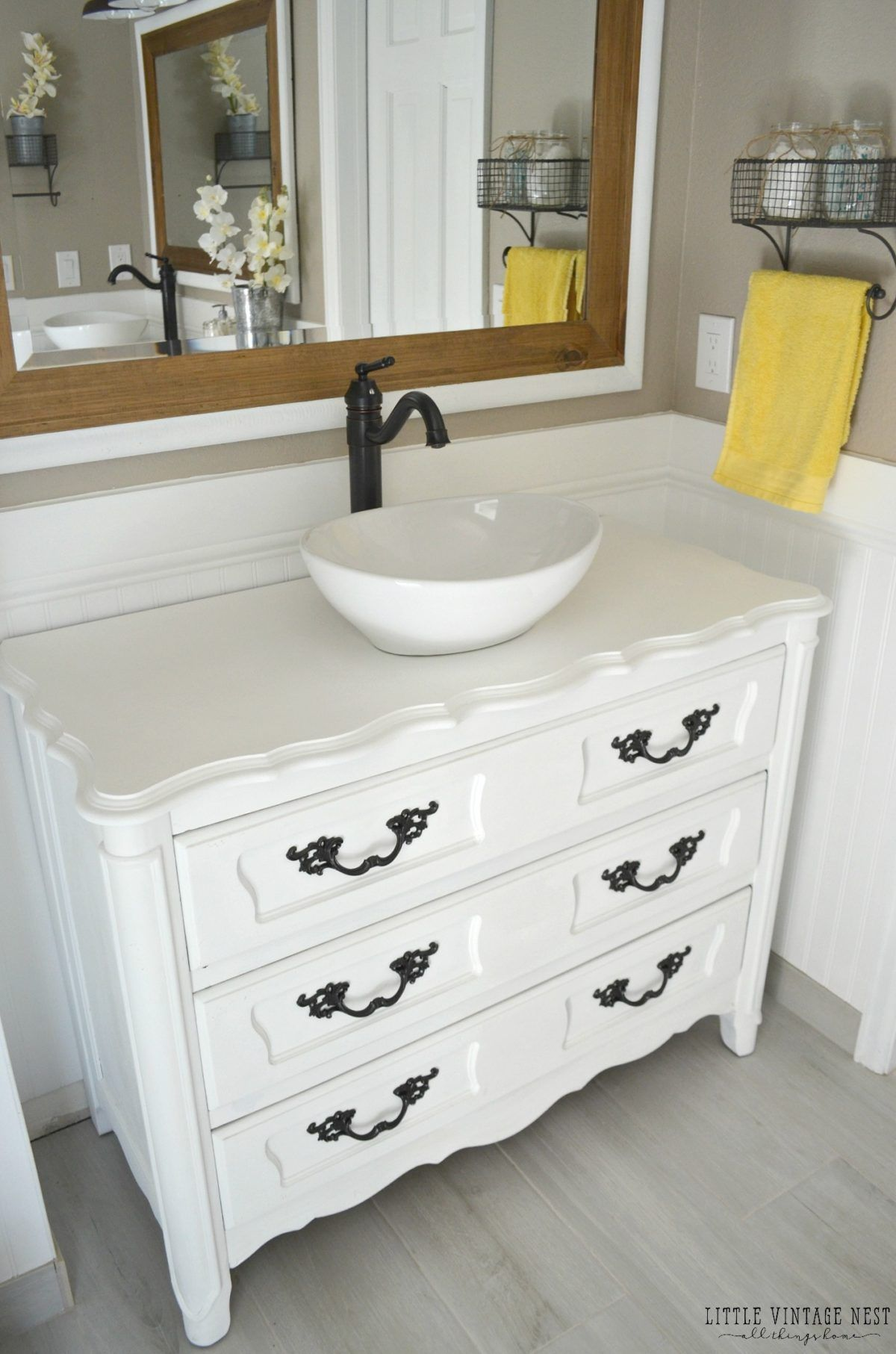 Step By Tutorial To Turn An Old Dresser Into Bathroom