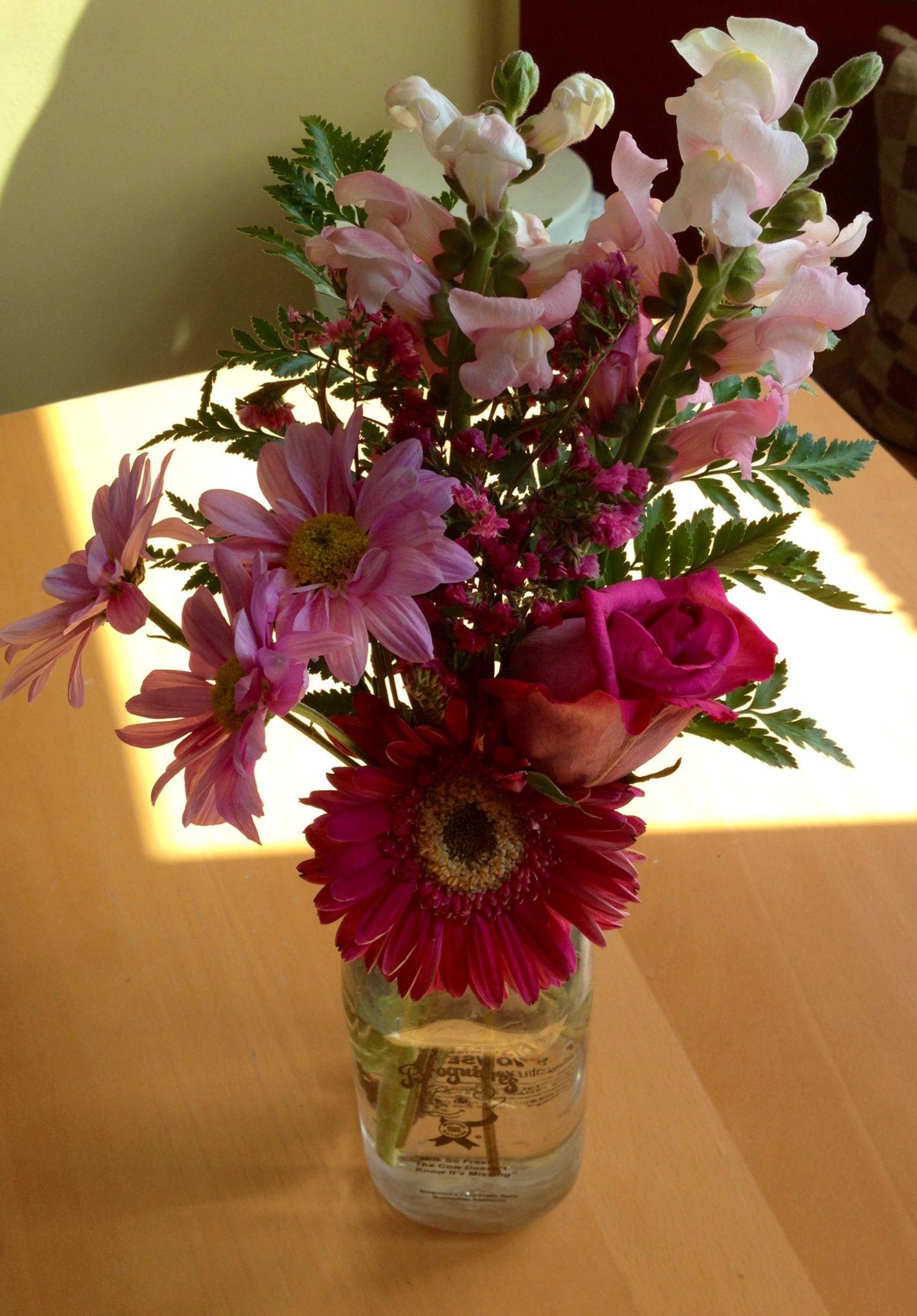 Flowers In A Glass Milk Jug Flower Arrangements Glass