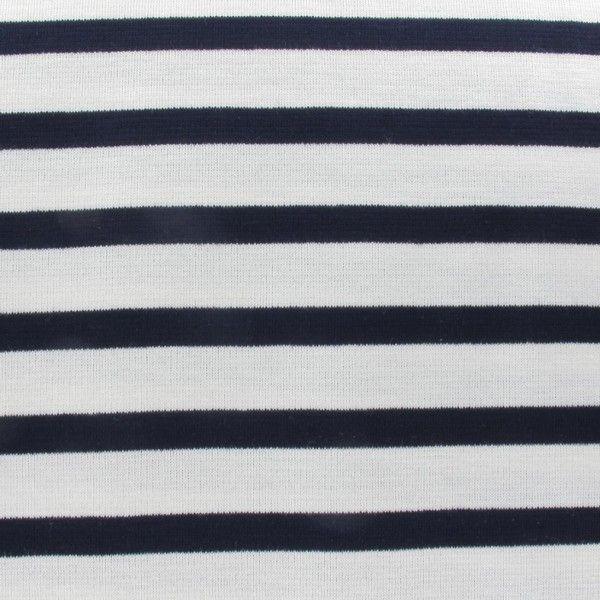 Tissu jersey rayures écru x 10cm