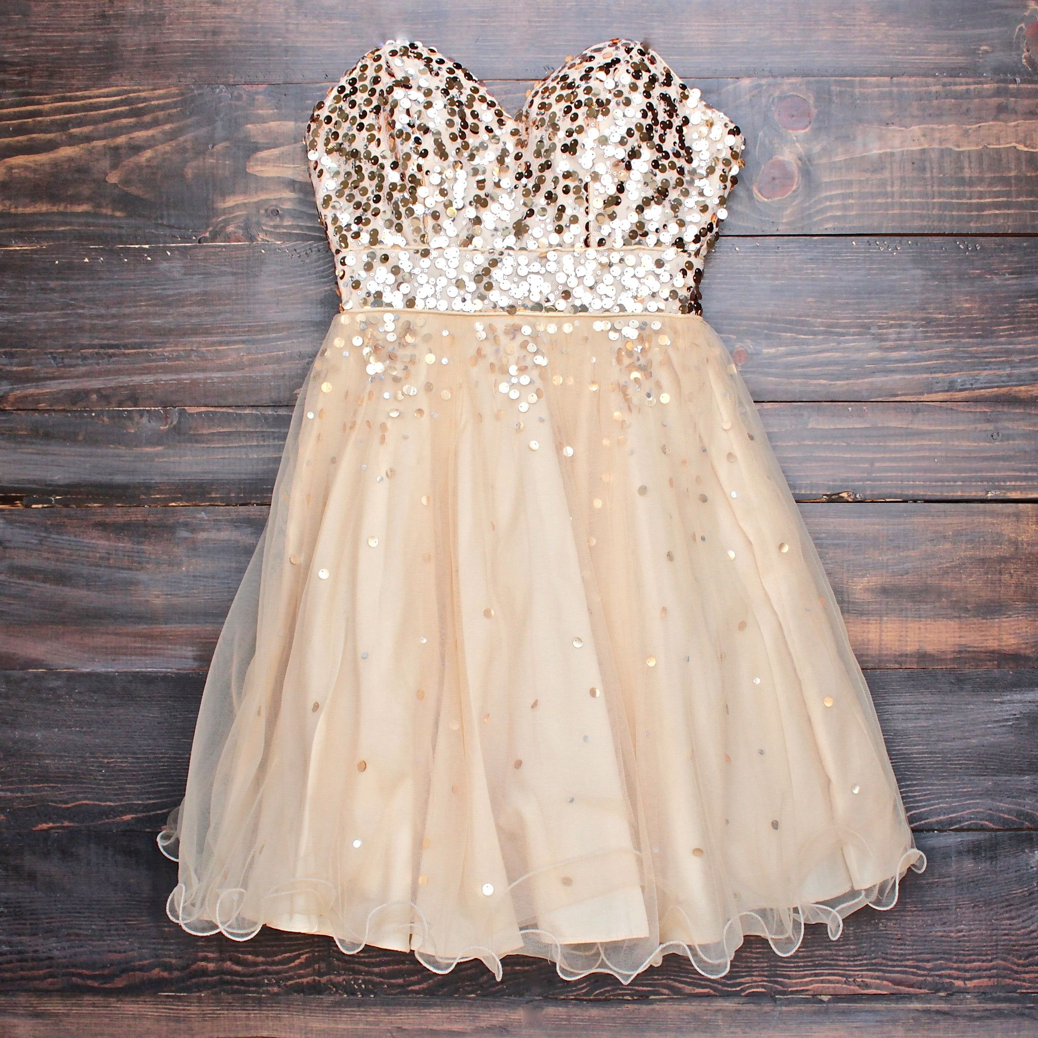 Glitter and glam sweetheart strapless gold sequin homecoming party
