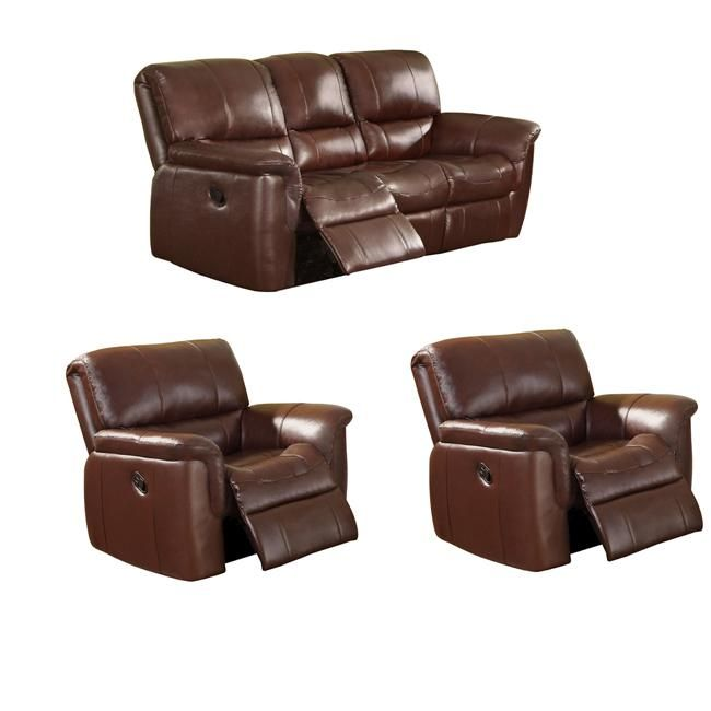 Deals On Sofa Sets: Concorde Wine Italian Leather Reclining Sofa And Two