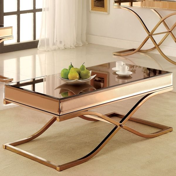 Furniture Of America Orelia Luxury Copper Metal Coffee Table   Overstock  Shopping   Great Deals On