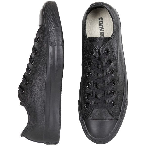 e631e018653 Converse Low Mono Black Leather (6.240 RUB) ❤ liked on Polyvore featuring  shoes