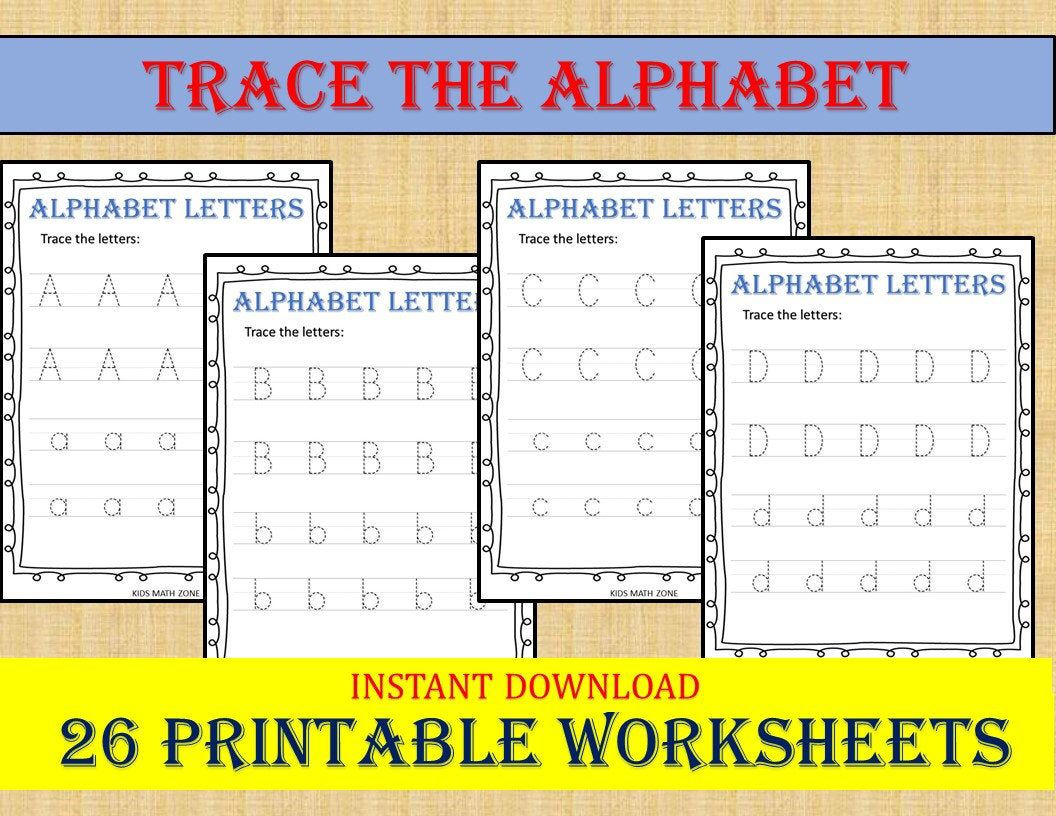 Trace The Alphabet Traceable Letters Handwriting