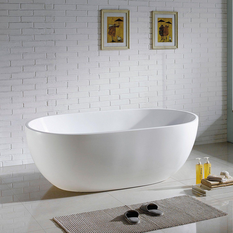 MAYKKE Barnet 61 Inches Modern Oval Acrylic Bathtub Freestanding ...