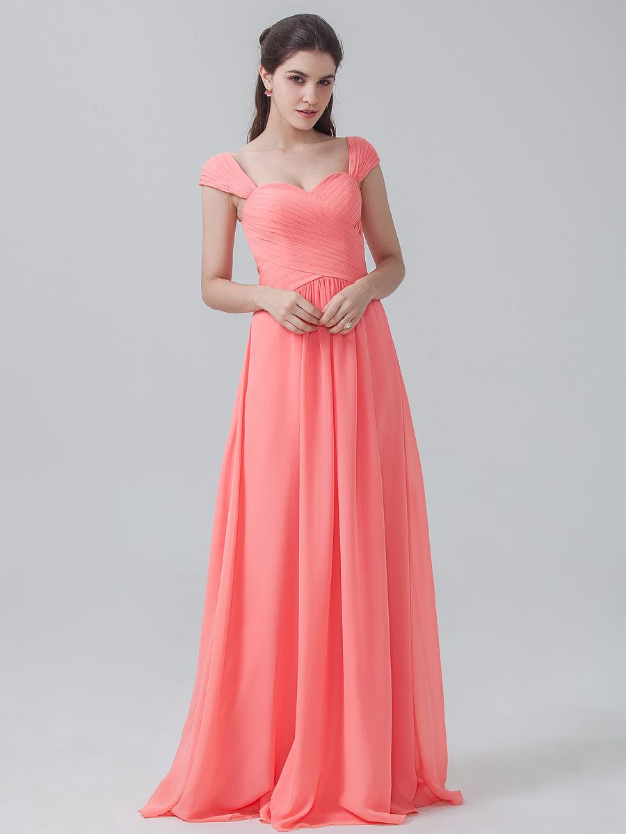 Pleated chiffon dress with cap sleeves color peach pink fabric pleated chiffon dress with cap sleeves color peach pink fabric chiffon ombrellifo Image collections