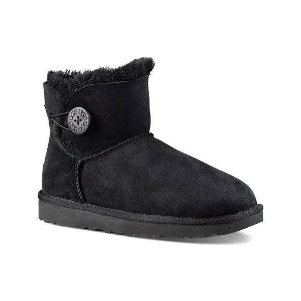 Ugg Australia Bailey Button Womens Ankle Boots Black Leather