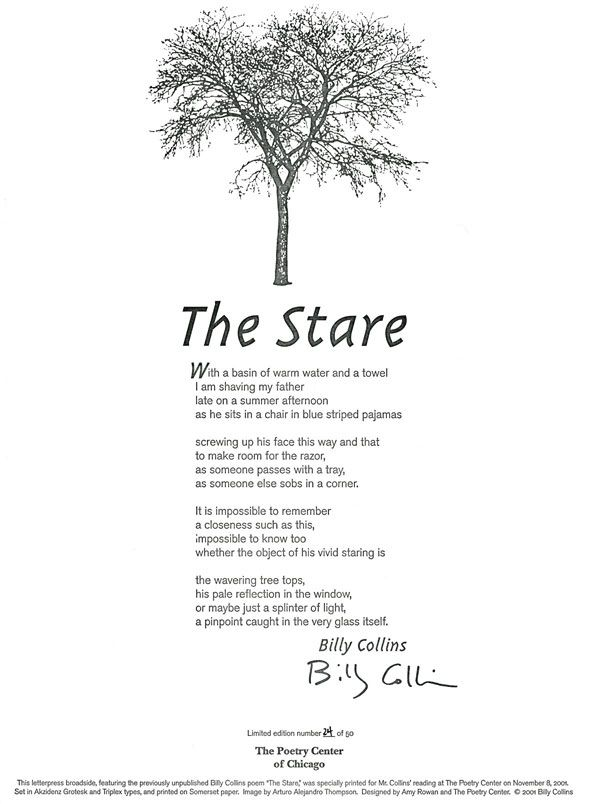 billy collins analysis of his poems essay Free essay: the poetry of billy collins in 2001 a new poet laureate was crowned and a new voice billy collins, analysis of his poems.