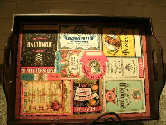 Black wood tray/ authentic vintage foreign por WalnutCreekUnique, $24.00