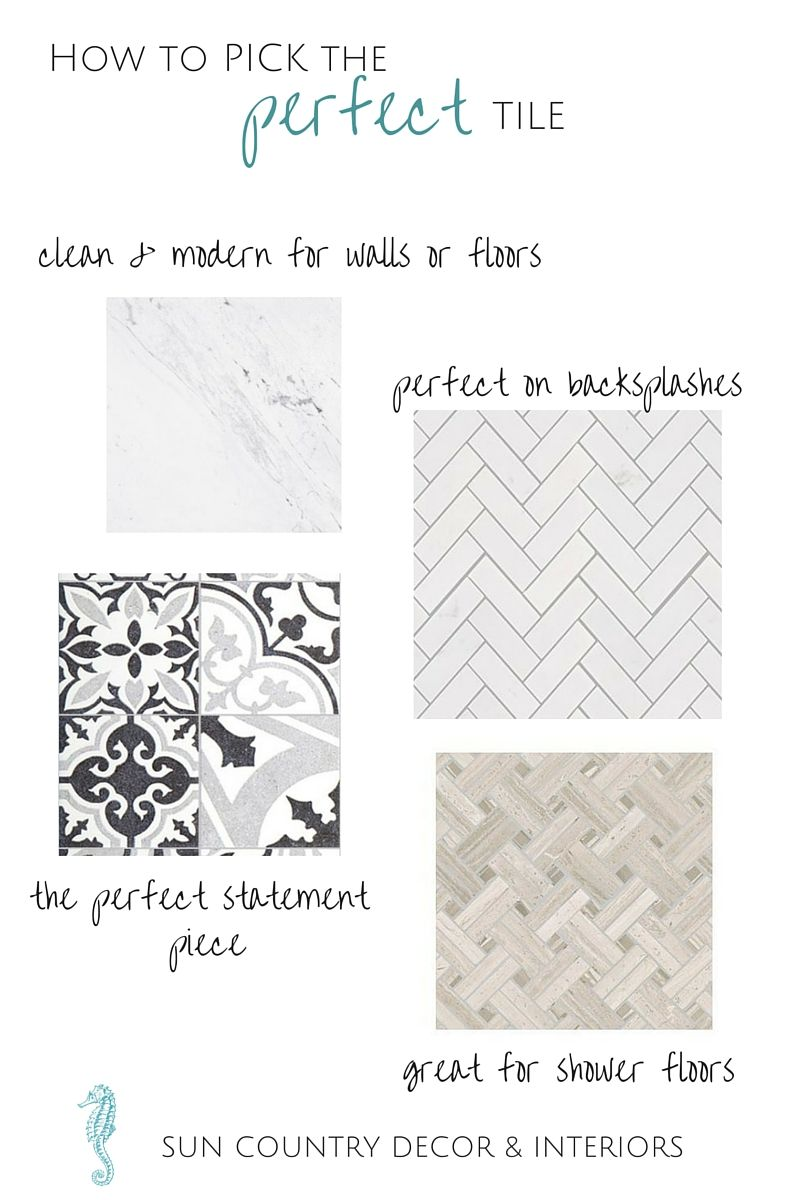 Don't look at another tile sample until you've read this... our top three Q&A's to picking the perfect tile http://www.suncountrydecor.com/#!How-to-Pick-the-Perfect-Tile/c23rm/56cf2a540cf2836ff5d81dae