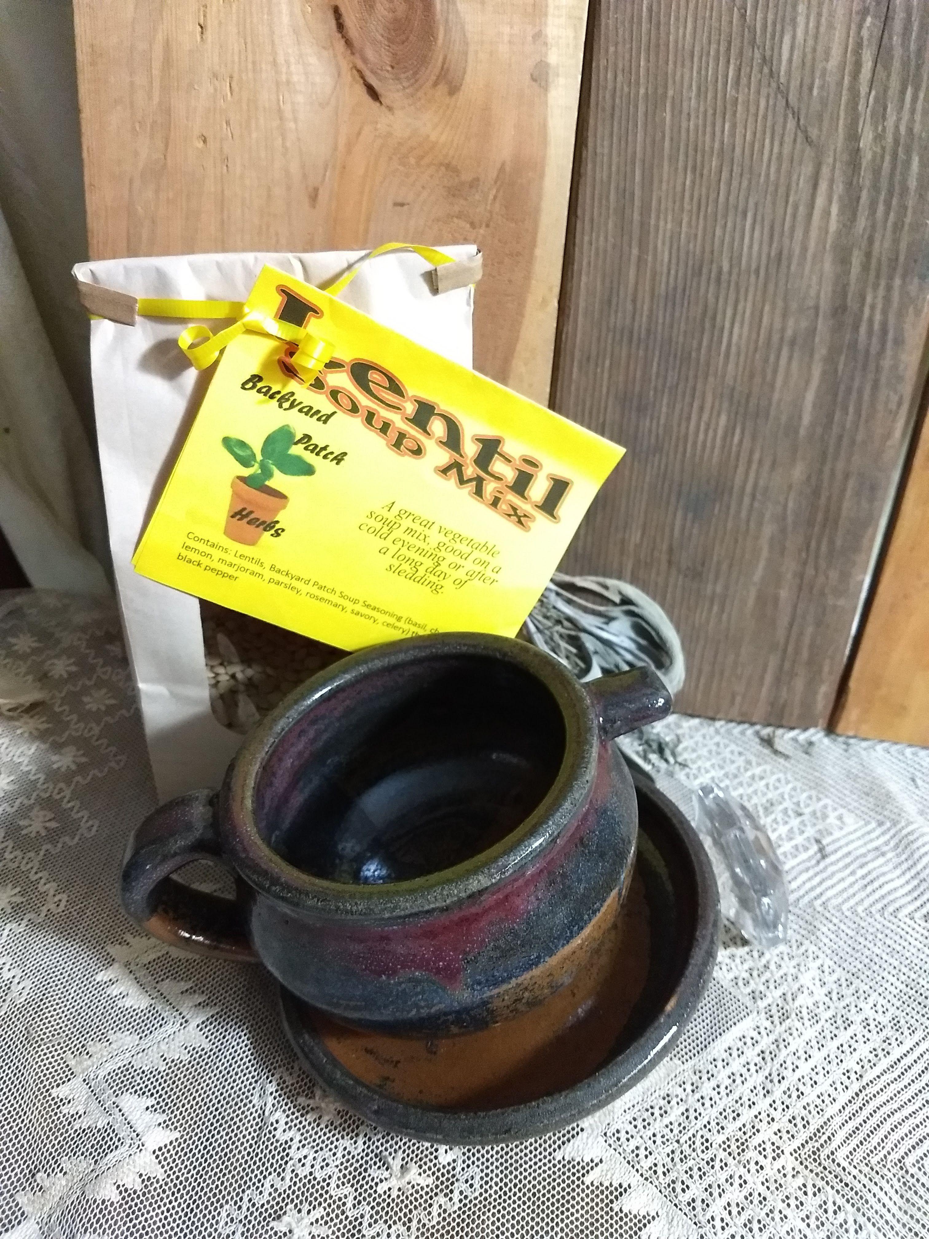 Photo of Handmade Tenmoku Pottery Bowl with Lentil Soup Mix | Gourmet dry soup mix | organic | Backyard Patch Herbs