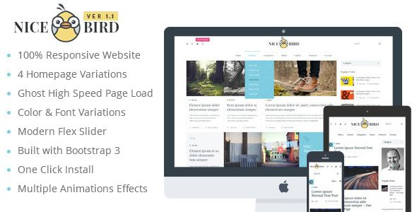 NiceBird: Responsive Ghost Multipurpose Themes for Blog