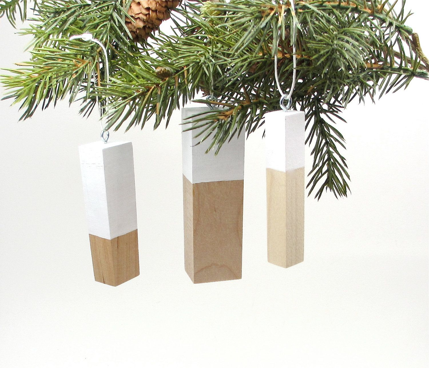 Wood Tree Ornaments Scandinavian Design Christmas Ornaments Modern Wooden Holiday Decorations 42 00 Via Etsy Wood Ornaments Christmas Diy Minimalist Home Decor