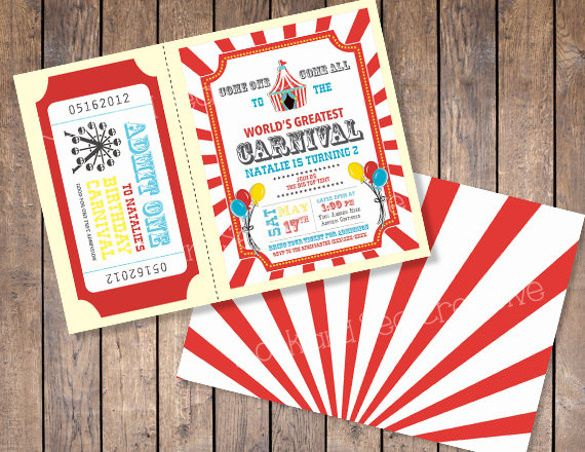 Carnival Birthday Invitations Free PSD Vector EPS AI - Digital birthday invitation template