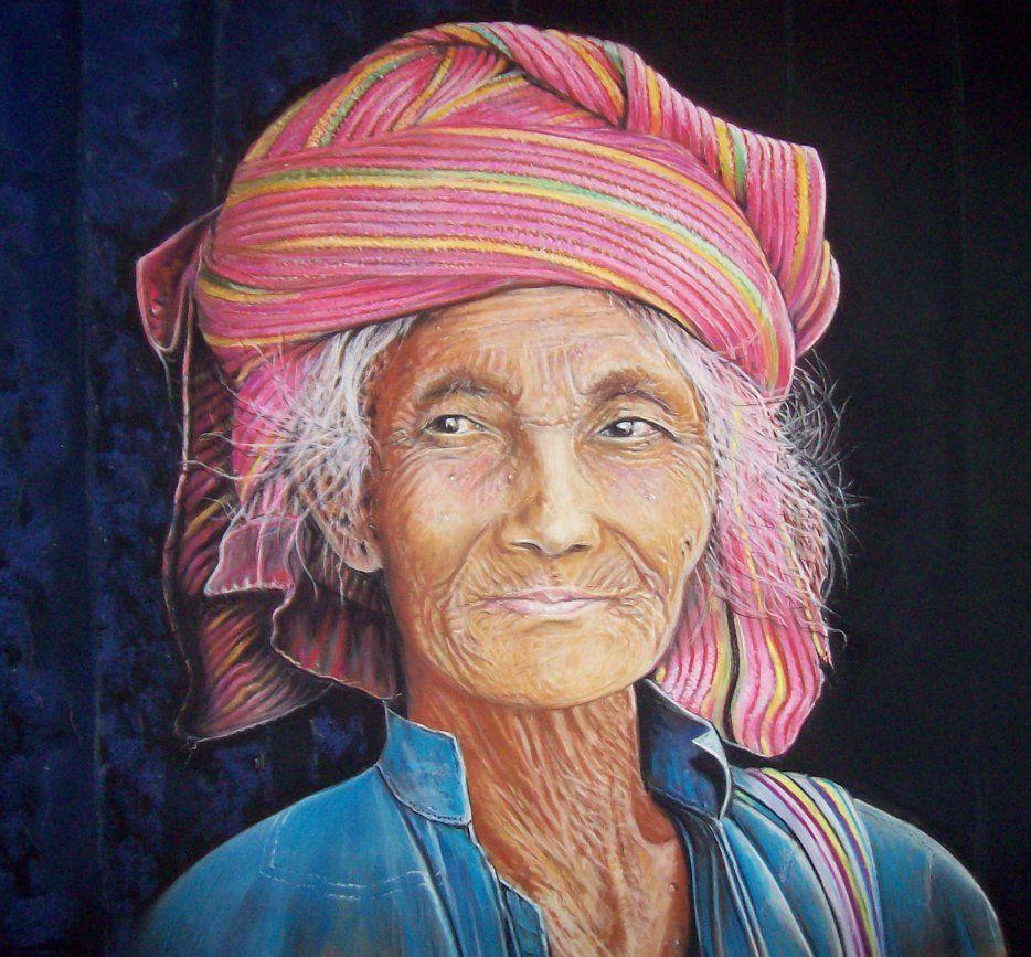 Visage De Birmanie Pastel Sec De Loulou De Castel Dessin Et