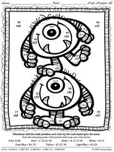 Double Digit Addition Coloring Worksheets Monsters Double