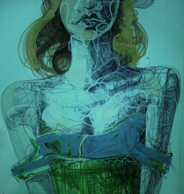 illustration, in green, girl, red