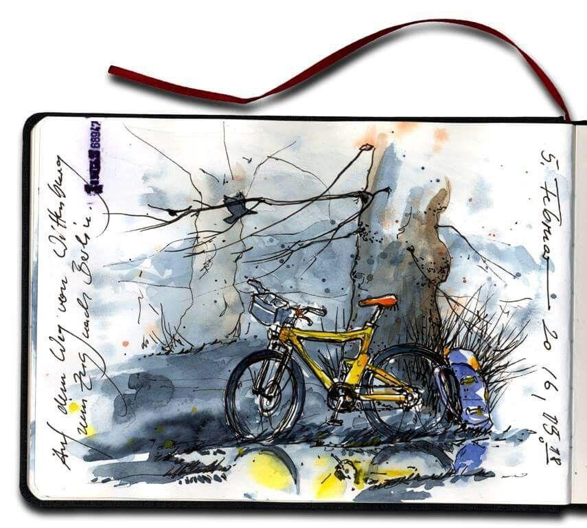 Jens Huebner Gelbes Fahrrad Berlin Skizzen Zeichnen Zeichnungen