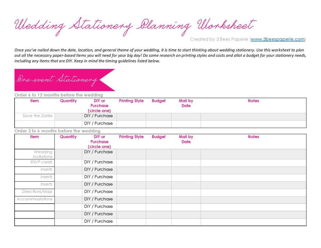 printable wedding planner worksheets