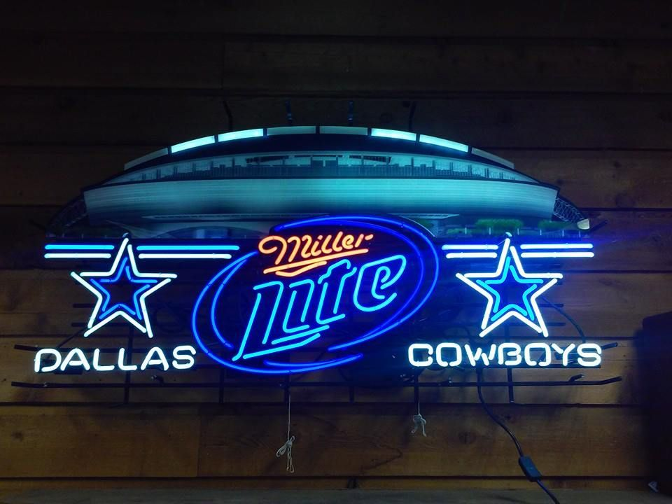 Man Cave Neon Signs For Sale : Dallas cowboys miller light stadium neon for sale what s