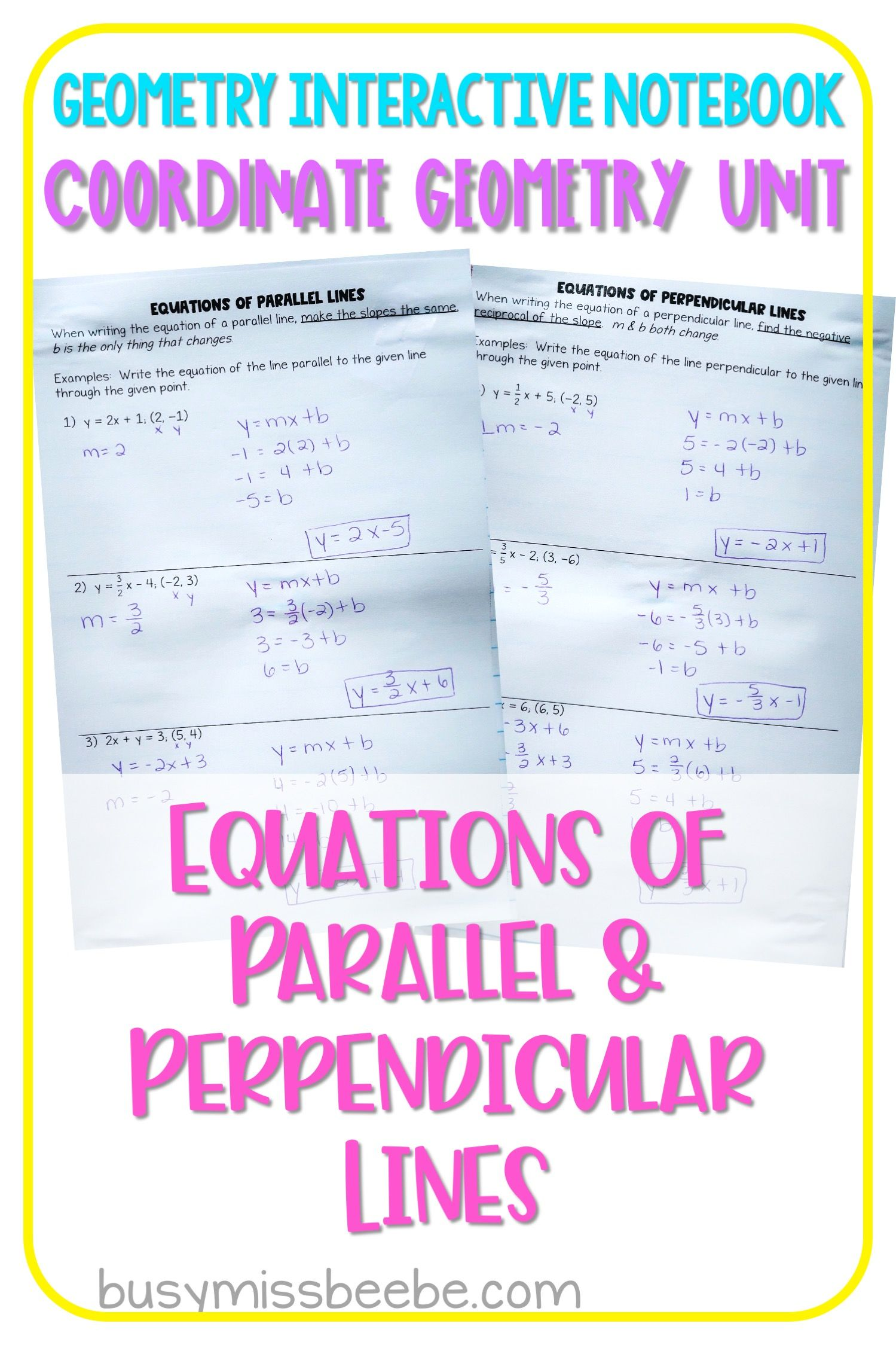 Equations Of Parallel Perpendicular Lines Geometry Interactive Notebook In 2020 Geometry Interactive Notebook Interactive Notebooks Coordinate Geometry