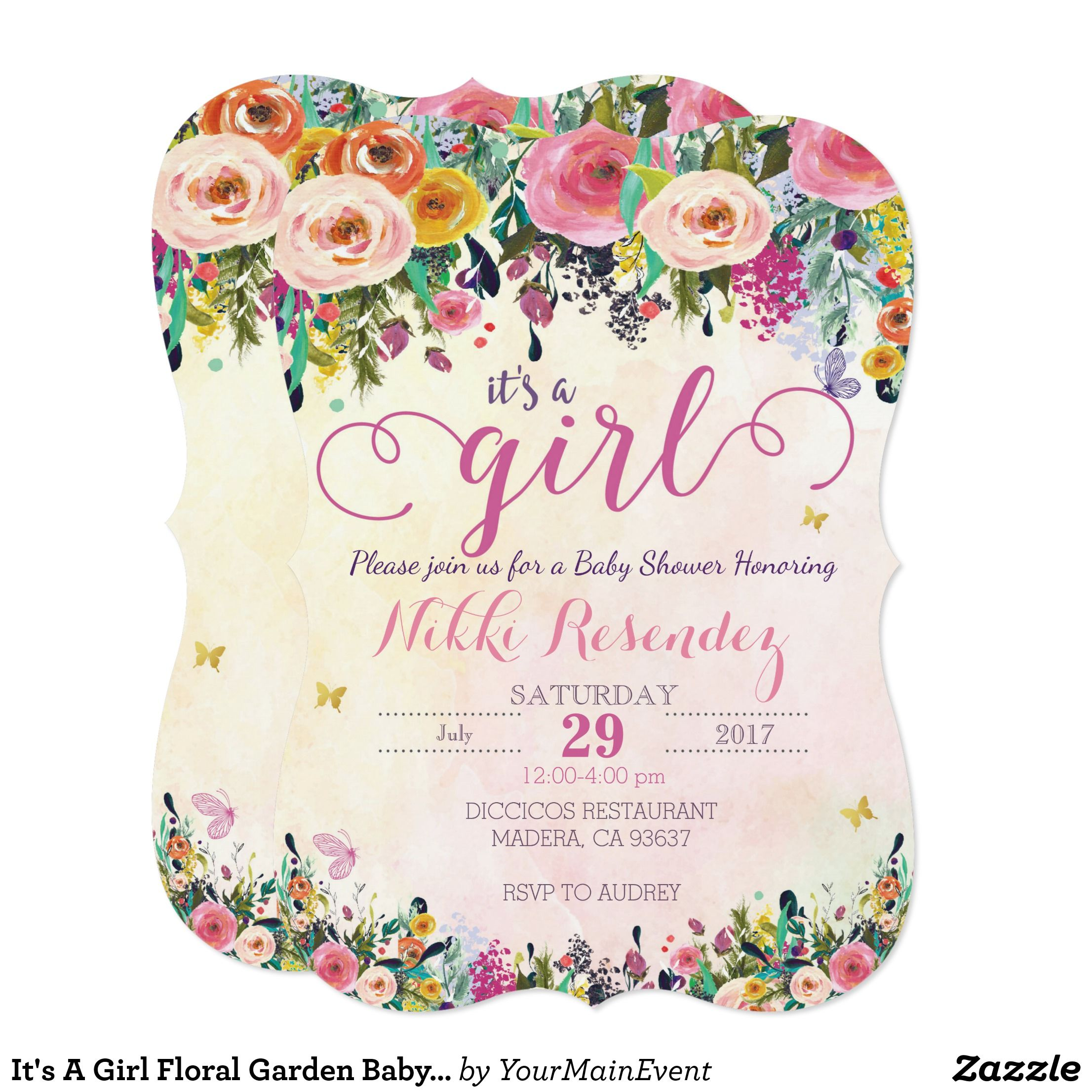 It\'s A Girl Floral Garden Baby Shower Invitation | AndreaXimena ...