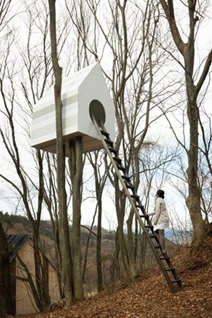 A Birdhouse for Humans and Birds: Bird Apartment Treehouse by Nendo