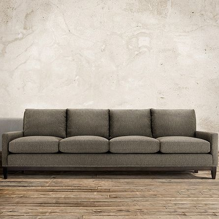 Handcrafted In America The Arhaus Dante 102 Upholstered Sofa Wilson Graphite Is Ed A Dramatic Menswear Woven Diamond Pattern Fabric
