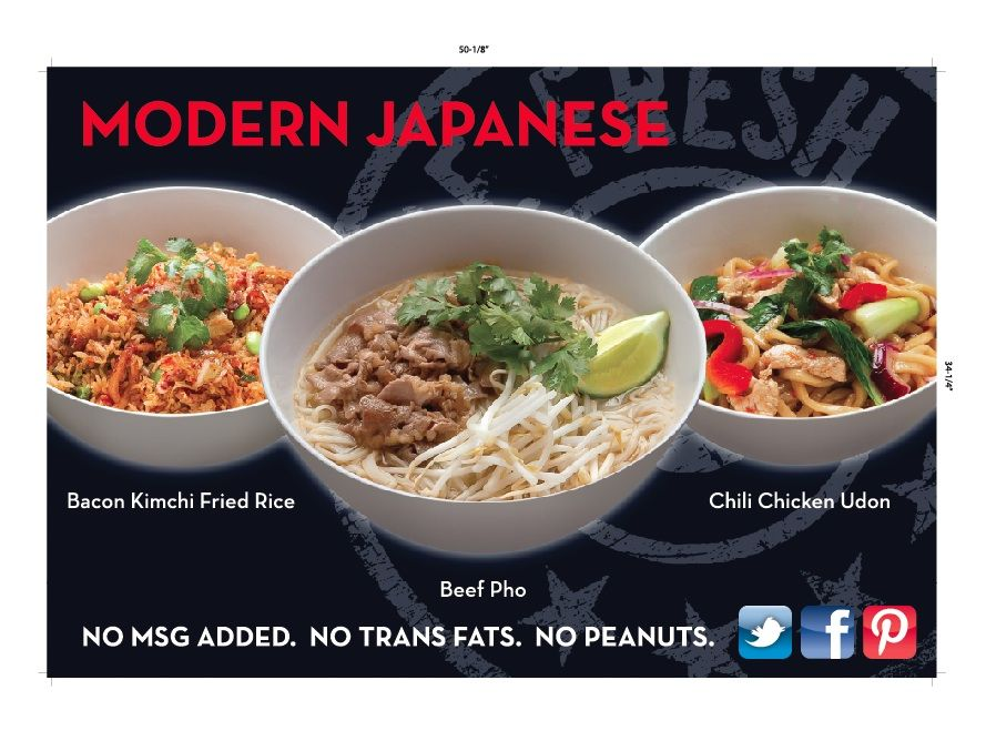 This Is Panel 1 Of Our New Menu Board With Better Food Shots Beef Pho Kimchi Fried Rice Chicken Udon