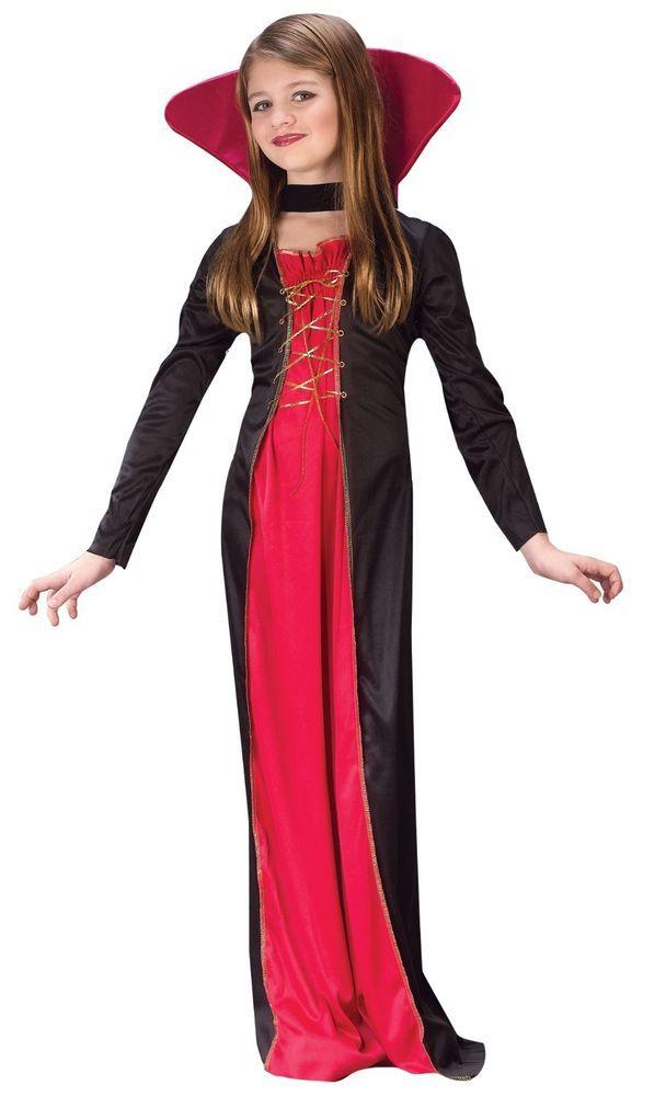 Girls V&ire Costume V&iress Halloween Fancy Dress Long Robe V&ira Childs #CompleteCostume  sc 1 st  Pinterest & Girls Vampire Costume Vampiress Halloween Fancy Dress Long Robe ...