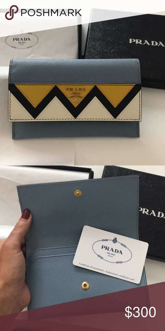 Prada saffiano greche Wallet BRAND NEW NEVER USED! Comes in original box  and with authenticity certificate card. Folding Prada wallet Prada Bags  Wallets 7c28dfc9f28eb