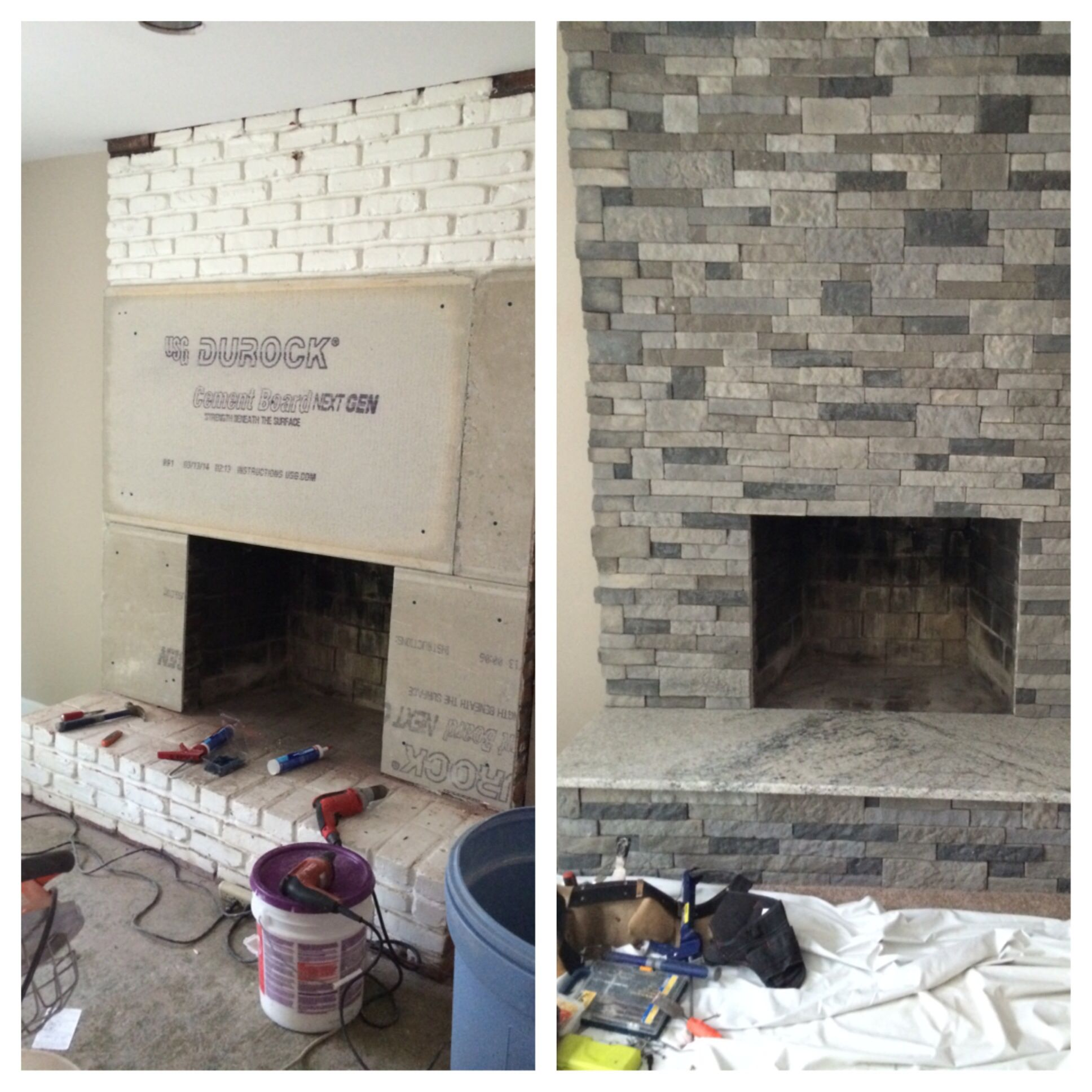 I Refaced This Old Brick Fireplace On A House Was Remodeling By First Attaching Cement Board And Then Going Over It With Airstone