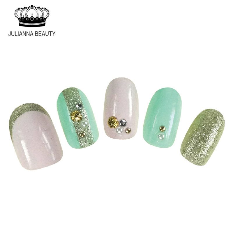 New Full Fake Nail Art Tips Glitter Lace Short Oval 3D Nail Tip With ...