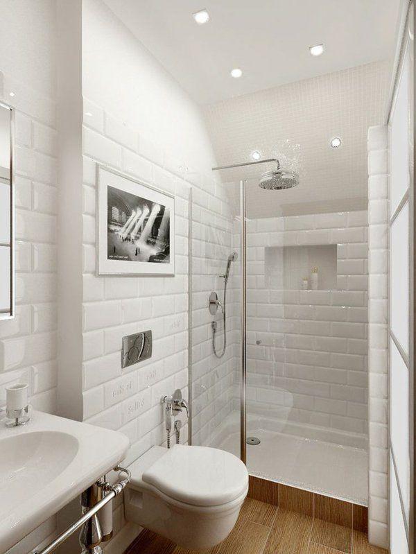 ideen kleines bad weiße fliesen Bad Pinterest weiße Fliesen - badezimmer ideen fliesen