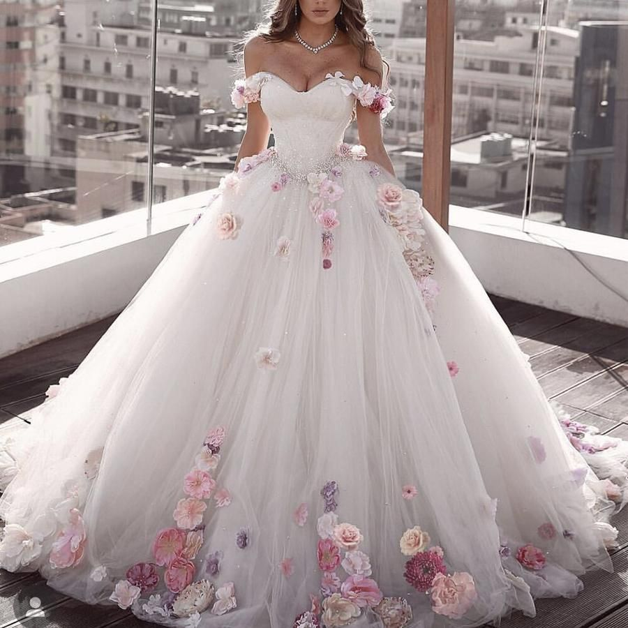 white wedding dresses 2019 sweetheart neckline hand made flowers 3d flowers ball gown puffy bridal dresses vestidos de noiva