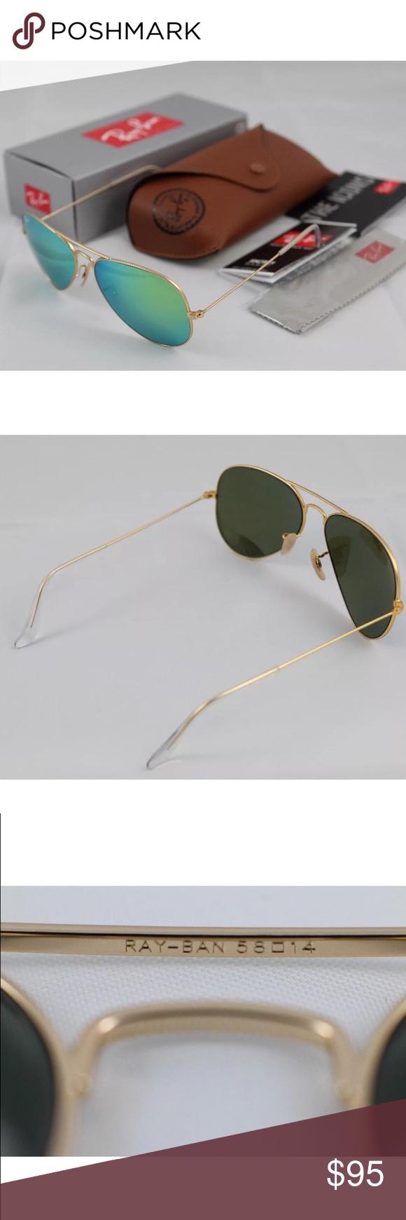 02294dd1d4b 100%AUTHENTIC Ray-Ban aviator flash green lens Ray-Ban 3025 Aviator  Sunglasses Model  RB3025 AVIATOR LARGE METAL 112 19 58014 3N Gold Wire Ray-Ban  Aviators ...