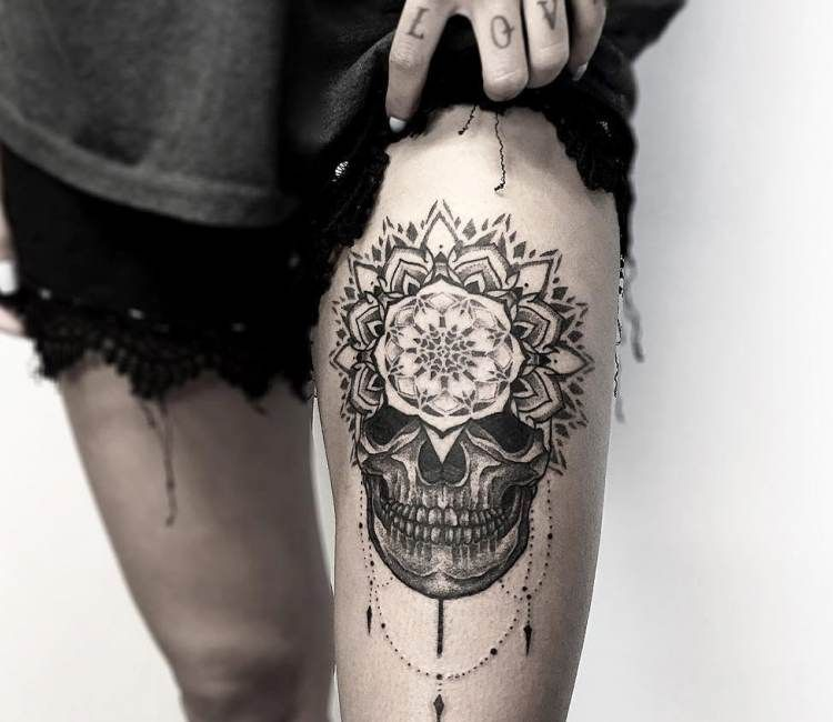 Mandala Skull Tattoo By Otheser Tattoo Tattoo Mandala Tattoo Leg Tattoos Skull Thigh Tattoos