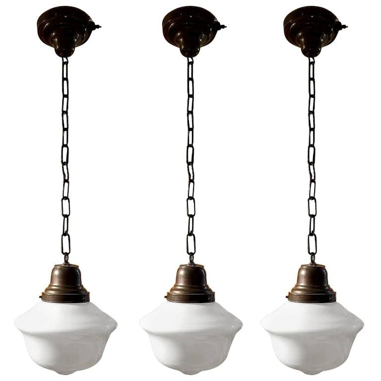 Set Of Three Vintage 1920s Schoolhouse Pendant Lights From A Unique Collection Of Schoolhouse Pendant Lights Vintage Bathroom Lighting School House Lighting