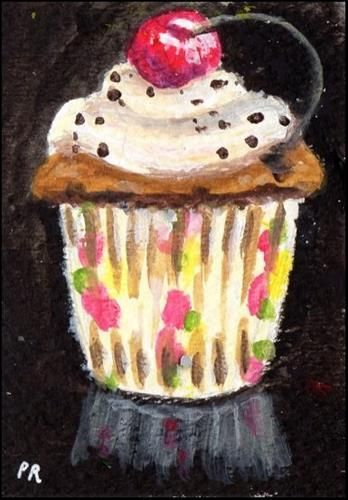 """Daily Paintworks - """"Cherry Cupcake"""" - Original Fine Art for Sale - © Patricia Ann Rizzo"""