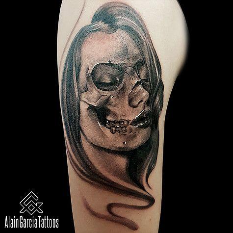 Skull Tattoo With Lady Face Morph Tattoo Tattoo Artist In Sydney Black And Grey Realism Tattoo Australia Tattoo Artists Tattoos Black And Grey Tattoos