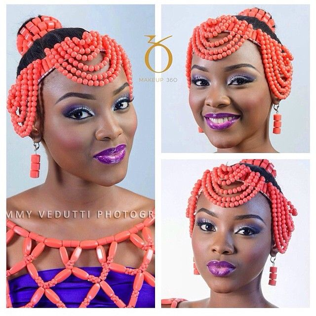 Stunning Nigerian bride with coral bead jewelry crown hairstyle updo for her wedding! ~African Prints, African women dresses, African fashion styles, african clothing ~DK