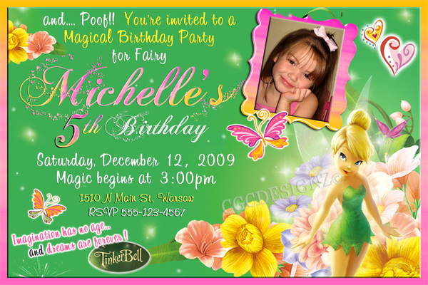 Free Tinkerbell Template Invitations Tinkerbell Invitations Birthday Invitation Templates Birthday Invitations