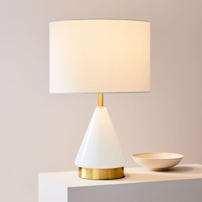 Metalized Glass Table Lamp Usb Small White Antique Brass Individual West Elm In 2020 Glass Table Lamp Modern Table Lamp Table Lamp