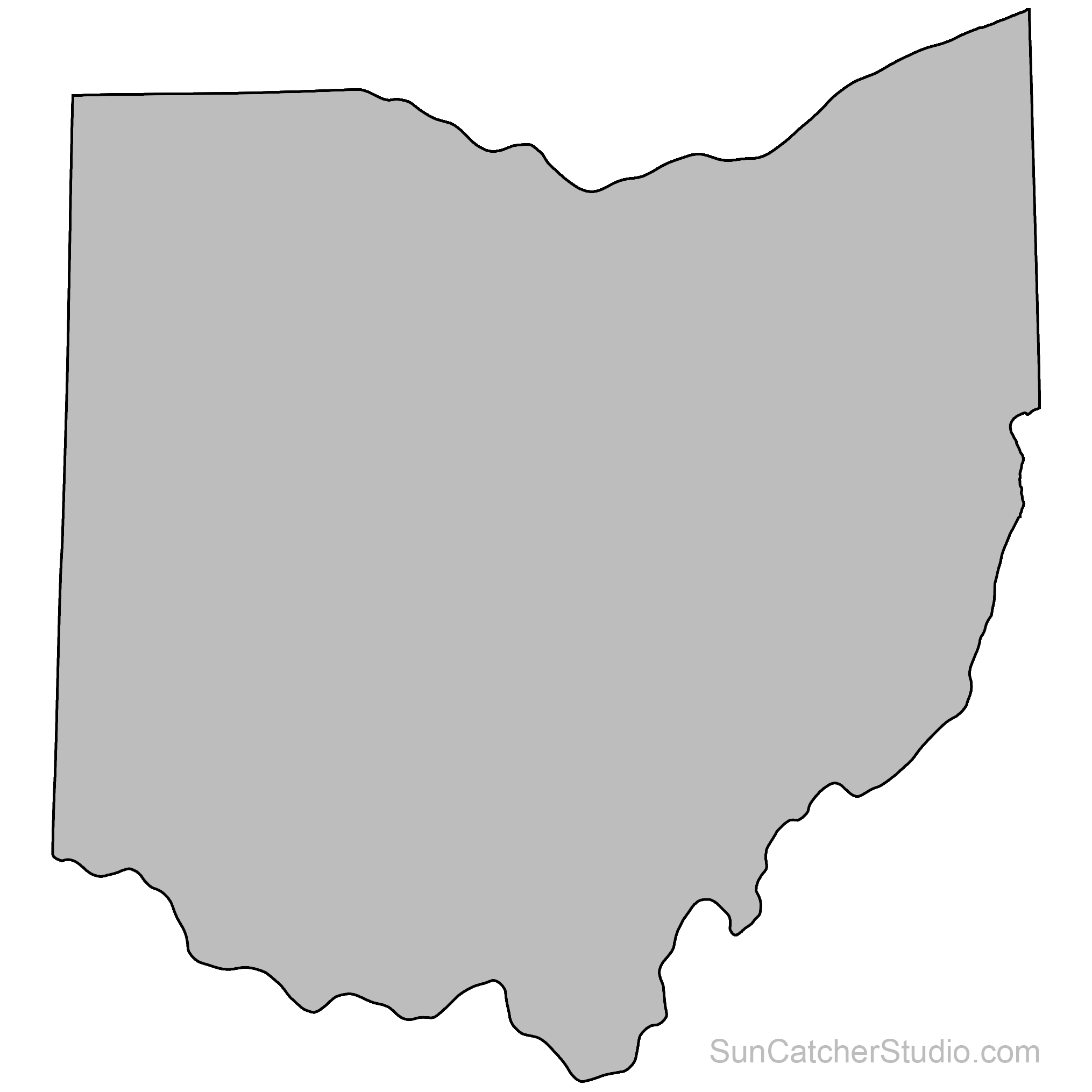 Ohio Map Outline Printable State Shape Stencil Pattern Maps